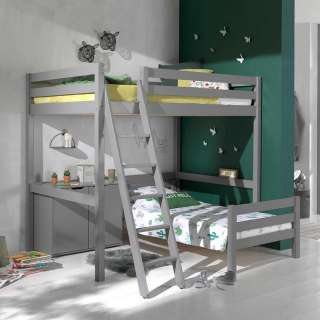 Kinderetagenbett mit Schrank Kiefer Massivholz Grau