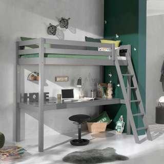 Kinderhochbett in Grau Schreibtisch