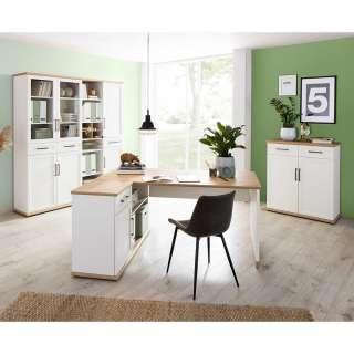 Arbeitszimmermöbel in Weiß und Asteichefarben Made in Germany (dreiteilig)