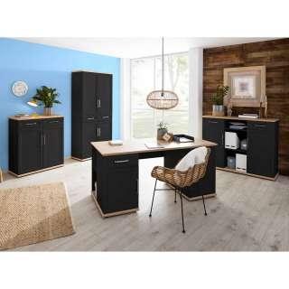 Büromöbel Set in Anthrazit und Asteichefarben Landhausstil (vierteilig)