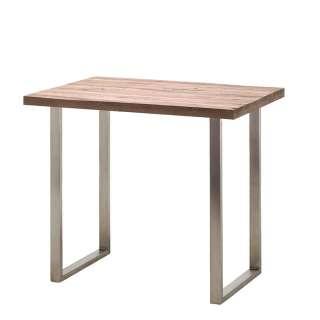 Holztischmassiv mit Edelstahl Bügelgestell Eiche Massivholz gekälkt