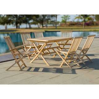 Terrassensitzgruppe aus Teak Massivholz sechs Sitzplätzen (siebenteilig)