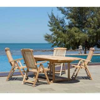 Gartentischgruppe aus Teak Massivholz vier Stühle (fünfteilig)