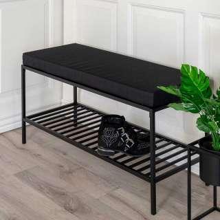 Moderne Garderobenbank in Schwarz Stahl 100 cm breit