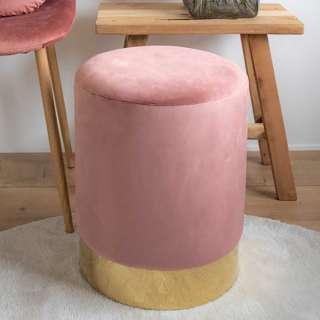 Runder Polsterhocker in Rosa und Messingfarben 43 cm hoch
