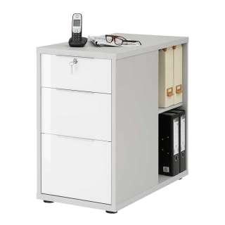 Schreibtisch Container in Platingrau und Weiß Hochglanz drei Schubladen