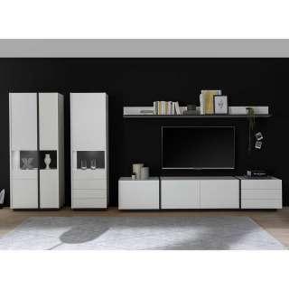 Wohnzimmerwand modern in Weiß und Schwarz melaminbeschichtet (fünfteilig)