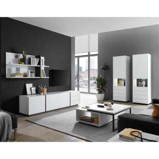 Wohnzimmerschrankwand modern in Weiß und Schwarz melaminbeschichtet (vierteilig)