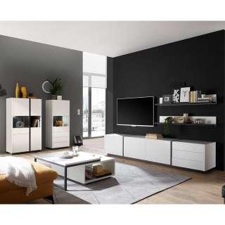 Design Wohnzimmerwand in Weiß und Schwarz melaminbeschichtet (fünfteilig)