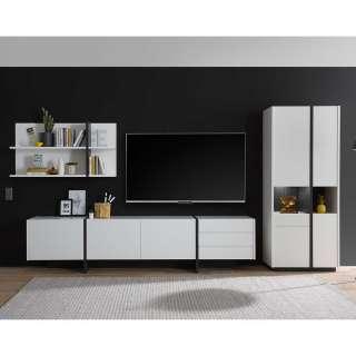 Design Wohnwand in Weiß und Schwarz melaminbeschichtet (dreiteilig)