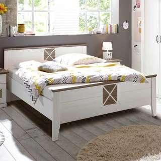 Landhaus Doppelbett in Pinie Trüffelfarben Weiß
