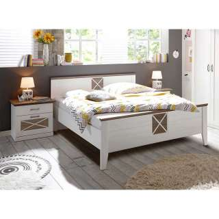 Doppelbett mit Konsolen in Pinie Trüffelfarben und Weiß Landhausstil (dreiteilig)