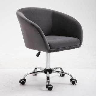 Samt Schreibtischsessel in Dunkelgrau höhenverstellbarem Sitz