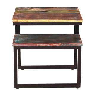 Shabby Wohnzimmer Tisch aus Recyclingholz Metall