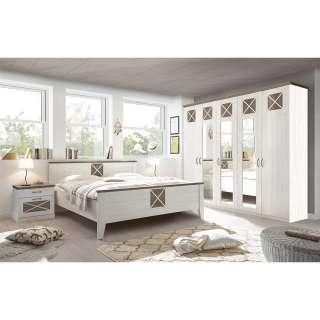 Komplettschlafzimmer in PinieTrüffelfarben Weiß (vierteilig)