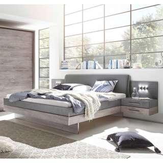 Doppelbettanlage in Eiche Grau Beton Optik (dreiteilig)