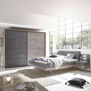 Schlafzimmerset modern in Eiche Grau Beton Optik (vierteilig)