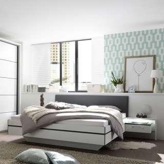 Moderne Bettanlage in Weiß und Anthrazit Polster Kopfteil (dreiteilig)