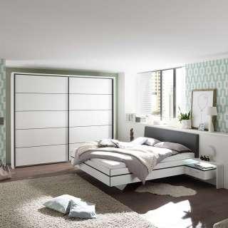 Design Schlafzimmer Set in Weiß Anthrazit (vierteilig)