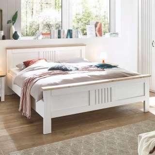 Landhaus Doppelbett in Eichefarben und Weiß foliert
