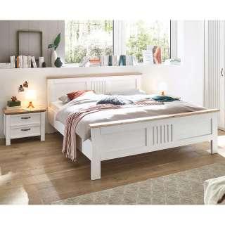 Landhaus Doppel Bett in Eichefarben und Weiß Mittelsteg (dreiteilig)