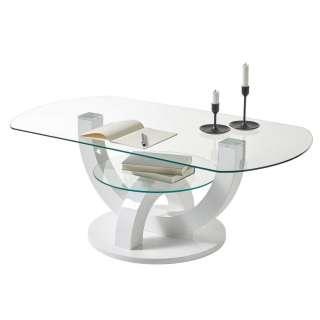 Wohnzimmer Design Tisch in Weiß ovaler Tischplatte