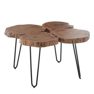 Baumscheiben Couchtisch aus Akazie Massivholz Industry und Loft Stil