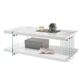 Hochglanz Designtisch in Weiß und Transparent MDF und Glas