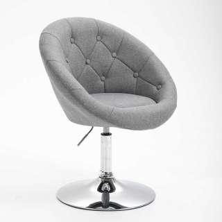 Schreibtischsessel Grau mit höhenverstellbarem Sitz Retrostil