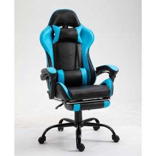 Racer Schreibtischsessel in Blau und Schwarz Lendenwirbelstütze