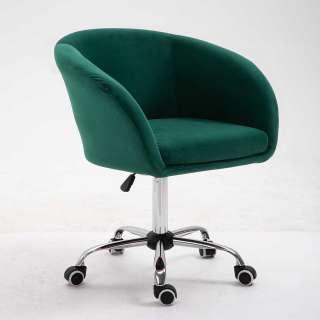 Samt Schreibtischdrehstuhl in Grün und Chrom höhenverstellbarem Sitz
