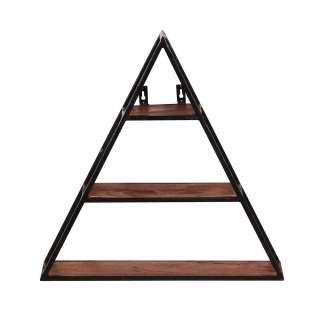 Wandregal Dreieck aus Mangobaum Massivholz Metall