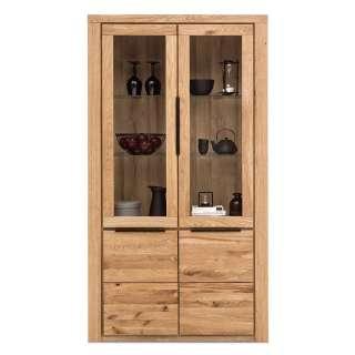 Wohnzimmer Vitrinenschrank in Eichefarben 2 Glastüren 2 Holztüren