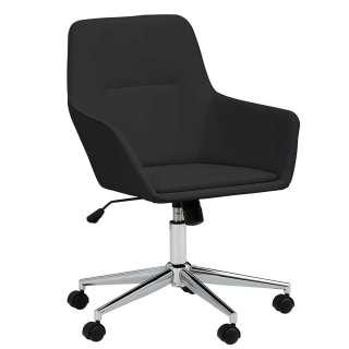Schreibtischsessel in Schwarz und Chrom höhenverstellbarem Sitz