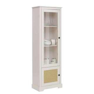Wohnzimmer Vitrinenschrank in Weiß und Beige Glastür