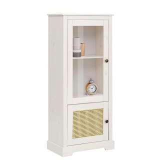 Kleine Vitrine in Weiß und Beige Geflecht Tür