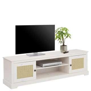 Fernsehmöbel in Weiß und Beige Rattan Geflechttüren