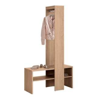 Garderobenkombination in Eiche Holzoptik Ablagen für Schuhe