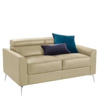 Leder 2er Sofa in Cremefarben und Chrom verstellbarer Rückenhöhe
