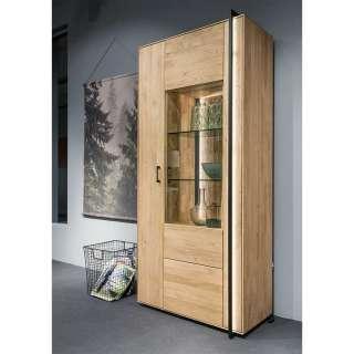 XL Wohnzimmervitrine in Asteichefarben Massivholz und Glas