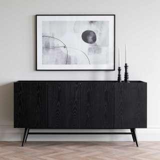 Sideboard in Schwarz lackiert furniert Retrostil