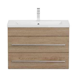 Waschtischunterschrank in Eiche hell tiefgezogen zwei Schubladen