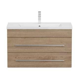Waschbeckenunterschrank in Eiche hell Dekor tiefgezogen einem Einlasswaschbecken