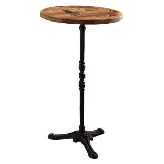 Bistro Tisch aus Mangobaum Massivholz und Gusseisen Vintage Look