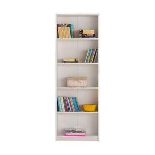Schlichtes Bücherregal in Weiß melaminbeschichtet mit Rückwand