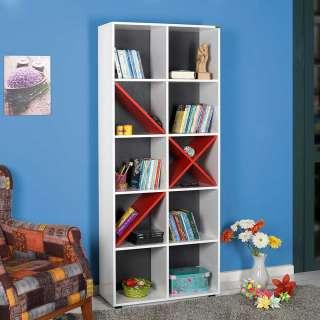Bücherregal modern in Weiß Rot Anthrazit melaminbeschichtet