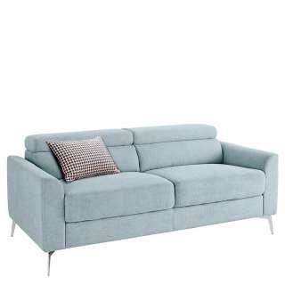 Dreisitzer Sofa in Hellblau und Chrom verstellbaren Kopfstützen