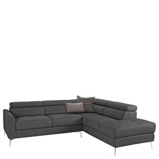 XL Leder Sofa in Dunkelgrau und Chrom verstellbarer Rückenhöhe