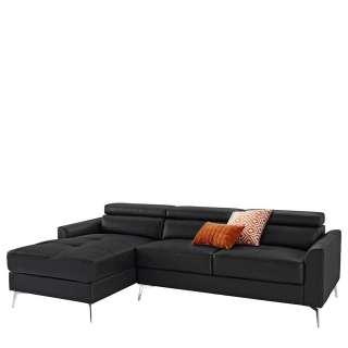L Sofa Leder in Schwarz und Chrom verstellbarer Rückenhöhe