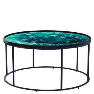 Designcouchtisch mit runder Tischplatte Blautönen